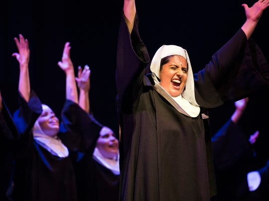 """Members of the Naples Players act out a scene for their production of """"Sister Act"""" during a dress rehearsal at  Sugden Theatre in Naples, Fla., on Monday, June 27. 2017."""