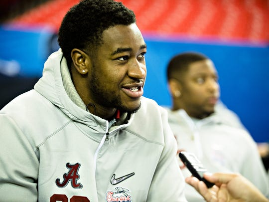 Alabama linebacker Shaun Dion Hamilton (20) speaks to the media during the Peach Bowl Media Day event at the Georgia Dome in Atlanta, Ga., on Thursday, Dec. 29, 2016.