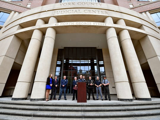 York City Police Chief Wes Kahley speaks at a news conference Thursday outside the York County Judicial Center. After a years-long split, the York County Drug Task Force and York City Police are rejoining forces to investigate drug trafficking.