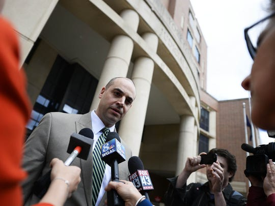 Chief deputy prosecutor Dave Sunday answers questions outside the York County Judicial Center in this file photo from May 2015. Sunday is one of the prosecutors in the case against Paul Henry III, who is charged in connection with the September 2016 deaths of Foday Cheeks and Danielle Taylor.