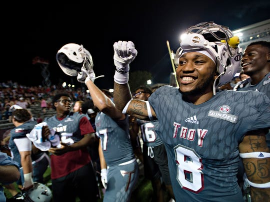 Troy wide receiver Emanuel Thompson (8) celebrates after NCAA football game between Troy and Akron on Saturday, Sept. 23, 2017, in Troy, Ala. Troy defeated Akron 22-17.