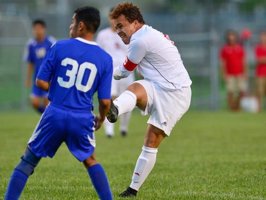 David Bell stikes the first goal for West Lafayette