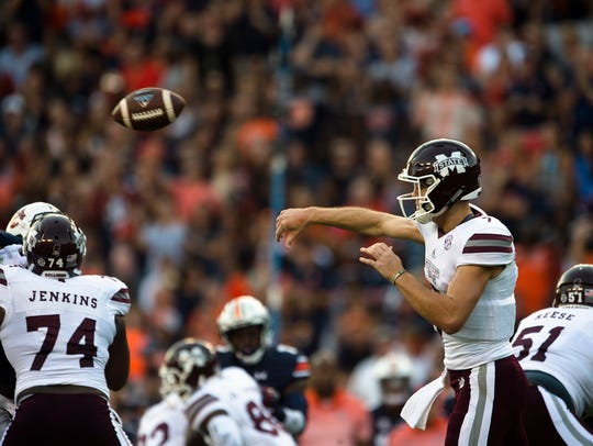 Mississippi State quarterback Nick Fitzgerald (7) throws
