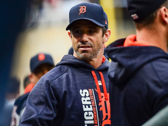Tigers manager Brad Ausmus (7) looks on during the ninth inning of the Tigers' 5-1 loss on Sunday, Oct. 1, 2017, in Minneapolis.