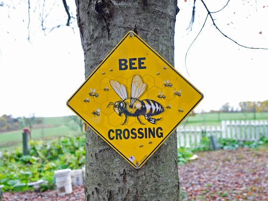 "This sign sits outside Jeremy Barnes's home in Springfield Township. Barnes recently won the 2017 Pennsylvania State Beekeepers Association ""Beekeeper of the Year"" award."