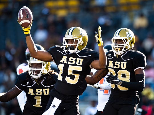 Alabama State wide receiver Joe Williams IV (15) celebrates