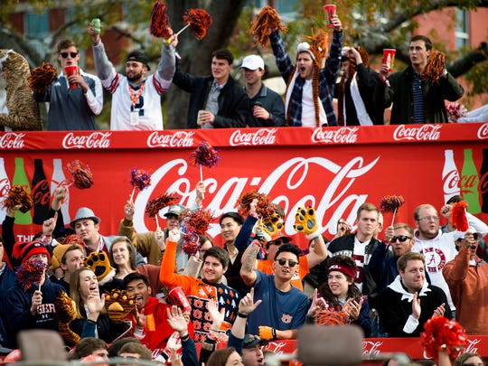 Fans hold cheer during Game Day before the Iron Bowl
