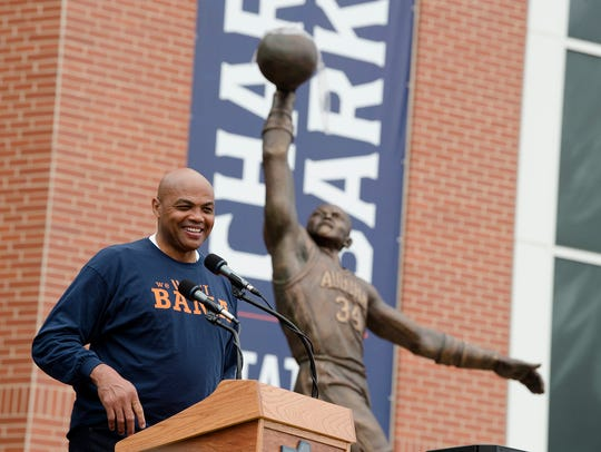 Charles Barkley speaks during the unveiling of the