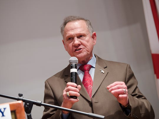 Roy Moore announces in Montgomery, Ala., that he will pursue a recount of election results that showed Doug Jones winning the Alabama Senate seat on Tuesday.