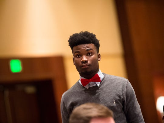 Wetumpka athlete J.D. Martin stands to be honored during the Alabama Sports Writers Association Mr. Football award ceremony on Tuesday, Jan. 30, 2018, in Montgomery, Ala.