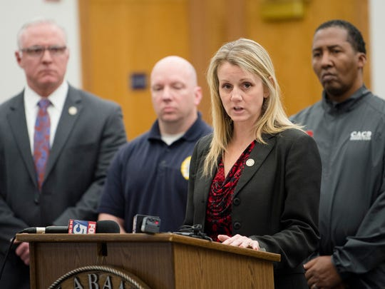 ICAC Lt. Brooke Walker speaks during a press conference on Tuesday, Feb. 6, 2018 in Wetumpka, Ala. Walker spoke about the arrest of suspect Germaine Moore, 44, of Millbrook, and a child-porn video circulated on social media during the past few days. Moore turned himself in early this morning  to the Elmore County Jail, in Wetumpka.