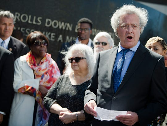 Richard Cohen, right, SPLC president, speaks during