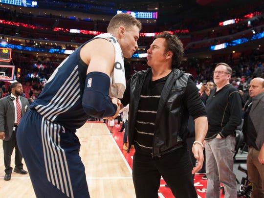 Detroit Pistons forward Blake Griffin (23) talks to