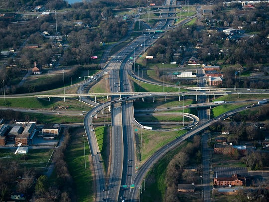 A aerial view of the I-85/I65 interchange in Montgomery,