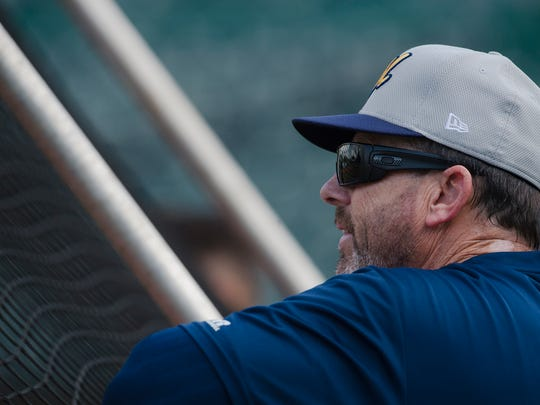 Biscuits coach Jamie Nelson looks on during the Biscuits opening practice on Tuesday, April 3, 2018, in Montgomery, Ala.