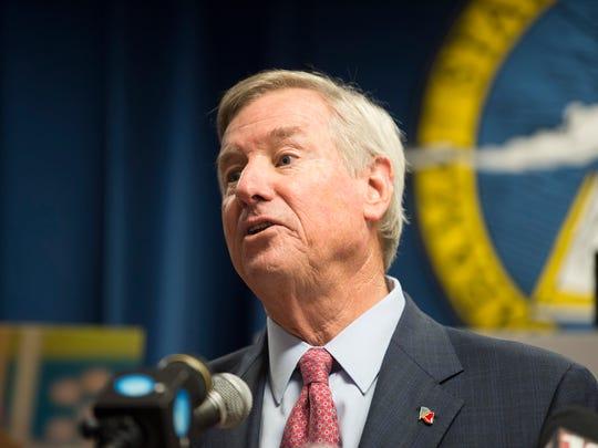 Mayor Todd Strange speaks during a press conference