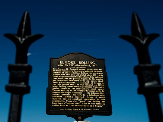 A plaque dedicated to Elmore Bolling, a resident of Lowndes County who was lynched Dec. 4, 1947.