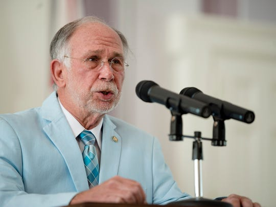 Jim McClendon, R-Springville, speaks during a press conference about a  grant to give out anti opioid injectors to first responders on Wednesday, May 2, 2018, in Montgomery, Ala.