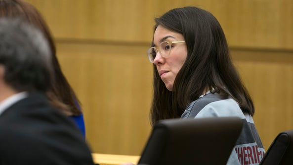 Jodi Arias looks on during a hearing regarding allegations