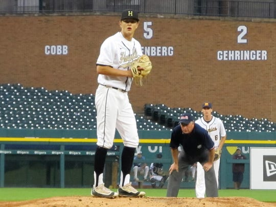 Howell's Sam Weatherly pitches in the East-West All-Star Baseball Classic at Comerica Park one night after being named Mr. Baseball. He was chosen in the 27th round of the Major League Baseball draft by Toronto, but chose to honor his commitment to play for Clemson University.
