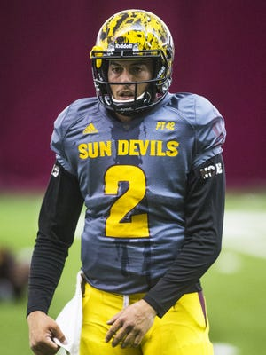 Arizona State's Mike Bercovici prepares to run a drill during practice in the Verde Dickey Dome in Tempe on Monday, Aug. 17, 2015.