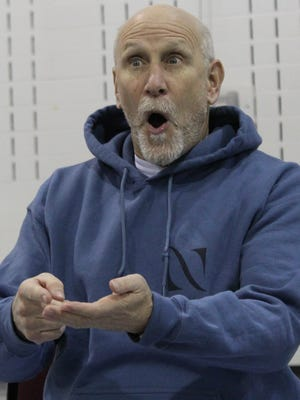 """Doug LoPachin, who is Wilbur Peabody in """"They Might Be Giants,"""" reacts in this rehearsal scene. Performances of the play adapted from the 1971 movie by director Steve Faehnle are scheduled for March 23-24 at the Paramount Theatre."""