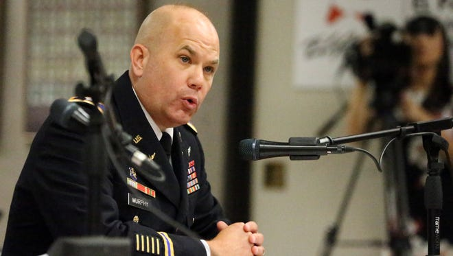 Col. Steve Murphy, new Fort Bliss garrison commander, speaks before the Texas House Defense and Veterans Affairs Committee on Tuesday at the Greater El Paso Chamber of Commerce office.