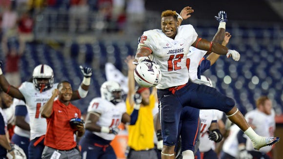 South Alabama Jaguars Gerald Everett (12) celebrates