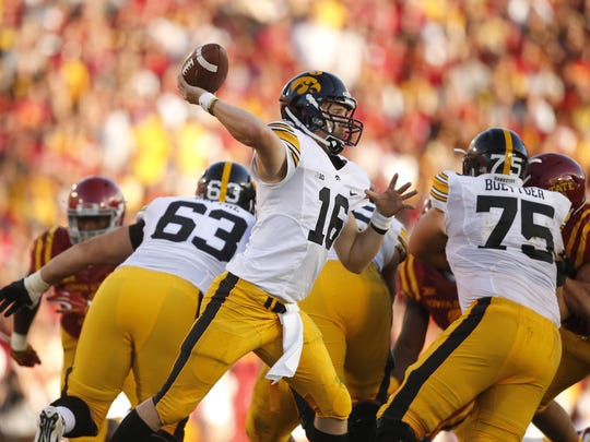 Iowa quarterback CJ Beathard fires a pass against Iowa State during the Cy-Hawk series on Saturday, Sept. 12, 2015, at Jack Trice Stadium in Ames, Iowa.