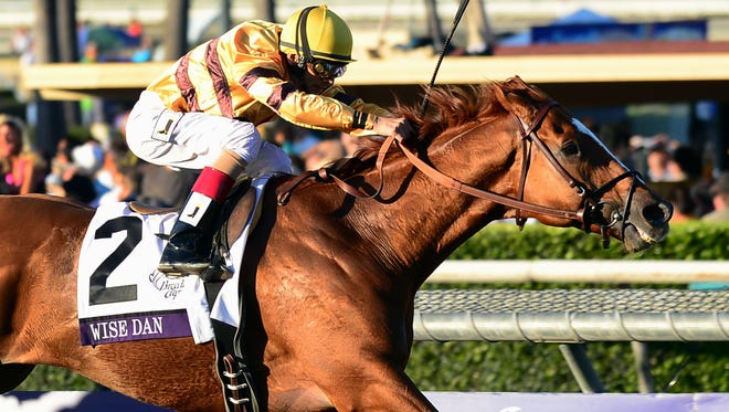Jockey John Velazquez rides Wise Dan to victory in the 2012 Breeder's Cup Mile at the Santa Anita.