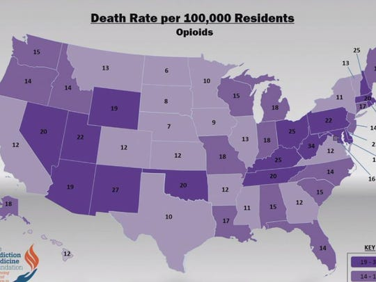 Death rates per 100,000 residents from opioids in the