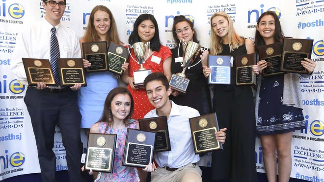 """Award winners from A.W. Dreyfoos School of the Arts at the 39th Annual Excellence in High School Journalism Awards Luncheon Thursday, May 2, 2019 in West Palm Beach. """"The Muse"""" won in the Social Media category and the General Excellence - Website category, and students won in the Column Writing, Editorial Writing, Feature Writing, News Writing, Page Design, Photography, and General Excellence - Student categories."""