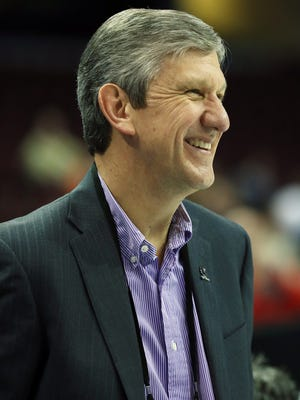 Men's basketball committee member Jim Schaus attends practice for the semifinals of the midwest regional of the 2015 NCAA Tournament at Quicken Loans Arena.