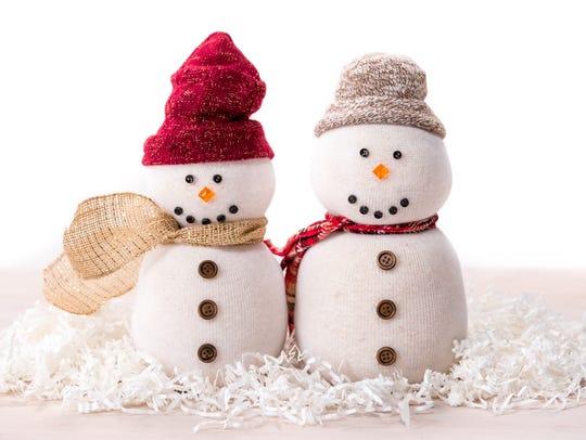 Tube sock snowmen DIY craft.