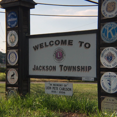 A sign greets visitors to Jackson Township on West