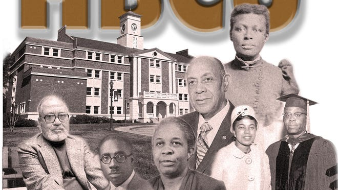 """The poster to promote the Lucy Craft Laney Museum of Black History exhibit """"The HBCU Experience, Past, Present and Future"""" features Frank Yerby (from left), Thomas Walter Josey, Margaret Laney, James Carter Jr., Lucy Craft Laney and Drs. Justine and Isaiah Washington."""
