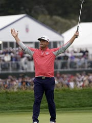 Gary Woodland celebrates after winning the U.S. Open Championship golf tournament Sunday in Pebble Beach, Calif.