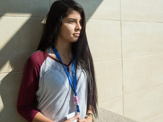 Angela Martinez, a sophomore at New America School, will be going to Poland in November to participate in the Model International Criminal Court mock trials, where she hopes to be on the prosecution side of the proceedings. Shown here outside of New America Thursday Oct. 5, 2017.