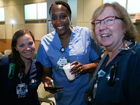 Nurses at Wilmington Hospital are all smiles after