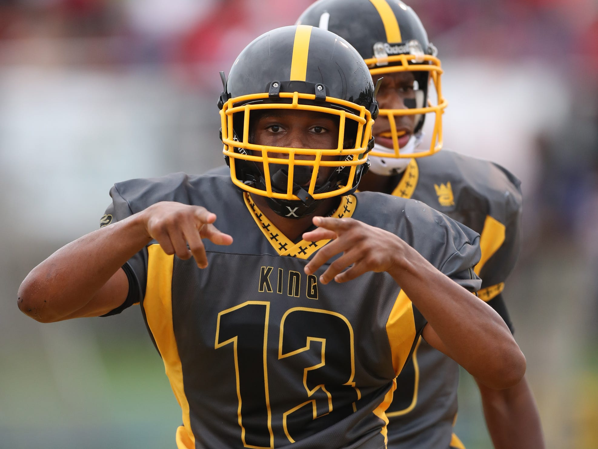 Detroit King's Ambry Thomas celebrates his touchdown against Southfield A&T during King's 39-0 win Saturday, Aug. 27, 2016 at Wayne State.