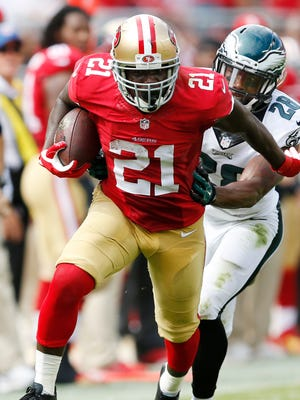 Frank Gore rushed for 119 yards on 24 carries and caught a 55-yard TD pass against the Eagles.