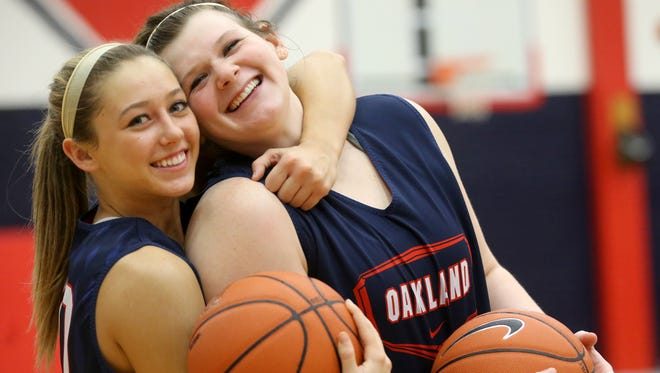 Oakland seniors Ansley Eubank, left, and Shelby Gibson are best friends on and off the basketball court.