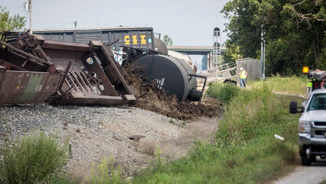 A train derailed near North Old State Road 3 and East Riggin Road on Aug. 16 for an unknown reason. Seven train cars, including an ethanol tanker, were involved in the derailment which caused heavy damage to the tracks and blocked several intersections.