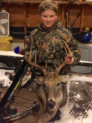 A record-setting deer season closes Monday. Kentucky hunters tagged more than 154,000 deer during the 2015-16 season, including this 10-pointer that 11-year-old Adam Hutchens took from Jefferson County with his crossbow. The youngster tagged an 8-point buck with his crossbow last year.