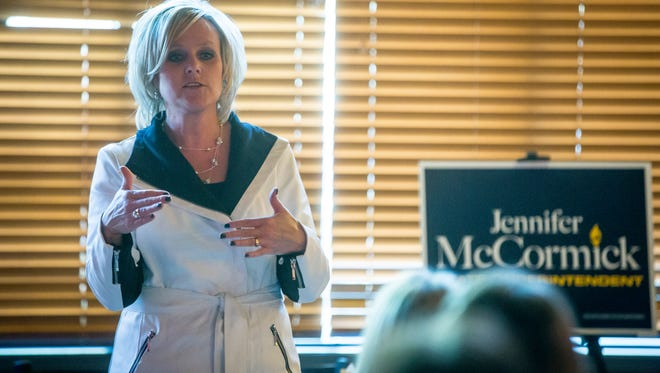 """Jennifer McCormick, the superintendent of Yorktown Community Schools, has a """"chips and dip"""" meeting with members of the public and supporters on Wednesday as a part of her campaign. McCormick is running against Glenda Ritz for State Superintendent of Public Instruction."""