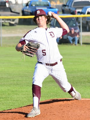 De Leon reliever Jake Sanders delivers a seventh-inning pitch in a 7-5 win over Goldthwaite on Tuesday, April, 10, 2018.