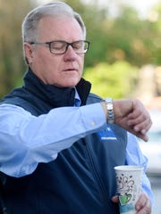 Republican State Senator Scott Wagner checks his watch before heading out to visit polling locations after voting at Grumbacher Sport and Fitness Center in Spring Garden Township, Tuesday, May 15, 2018. Wagner is running for Governor. Dawn J. Sagert photo