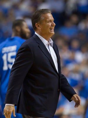 Sep 13, 2015; Lexington, KY, USA; Kentucky Wildcats head coach John Calipari looks on during the Alumni Game against North Carolina at Rupp Arena. Mandatory Credit: Mark Zerof-USA TODAY Sports