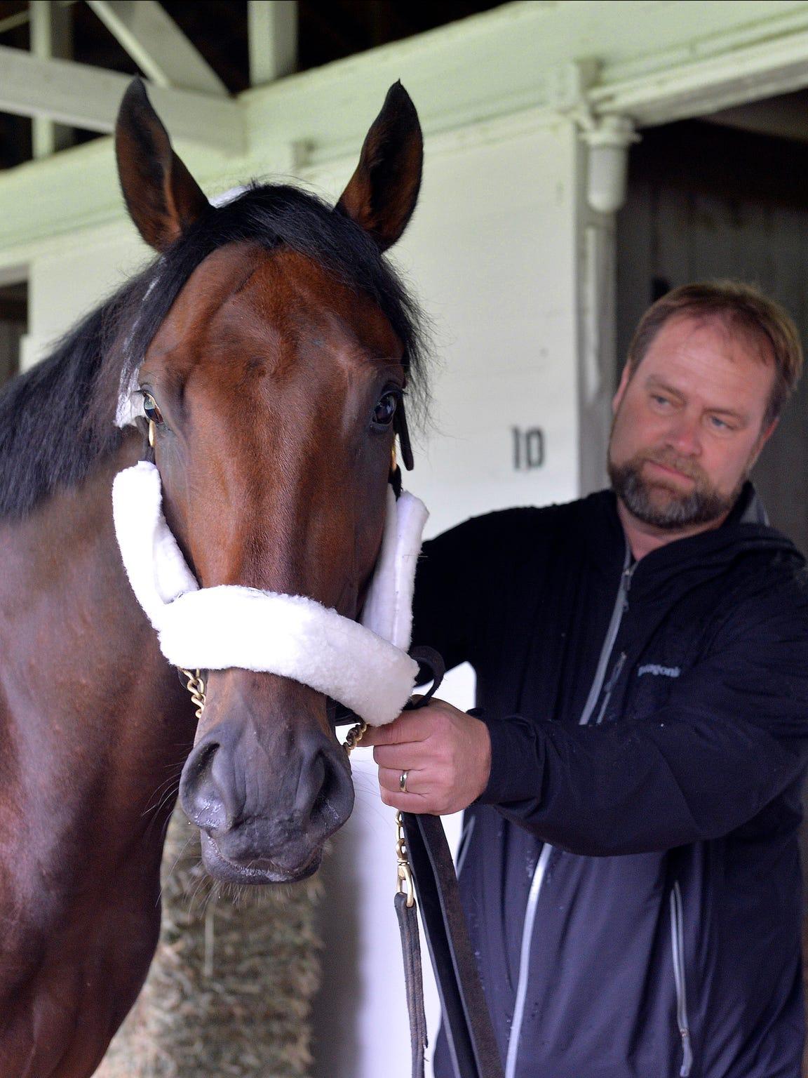 Trainer Doug O'Neill holds Kentucky Derby hopeful Nyquist