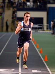 Senior Colin Hall was part of Mendham's record-setting distance medley at Morris County Relays at Drew University.  January 5, 2018. Madison, NJ.